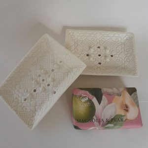 Porcelain soap dish and The English Soap Company's Kew soaps.